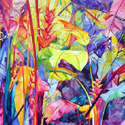 Rainbow forest 3, 44 x 48 inches, watercolor on canvas
