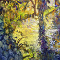 Elfin Forest 1, 40 x 60 inches, watercolor on canvas