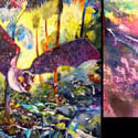 Bat diptych, 48 x 38 inches, 32 x 32 inches, watercolor on canvas