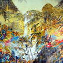Rainforest Saba, DWI,  48 x 72 inches, watercolor on canvas