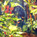 Heliconia 4, 46 x 60 inches, watercolor on Canvas