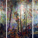 Triptych Sandy Cruz, 40 x 90 inches, watercolor on canvas, 2012