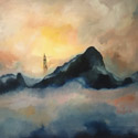 Mount Scenery sunset, 36 x 48 inches, oil on canvas, $1100