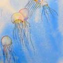 Jelly Fish 3, 16 x 20 inches, watercolor on canvas