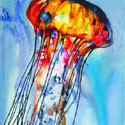 Jelly Fish 1, 16 x 22 inches, watercolor on canvas
